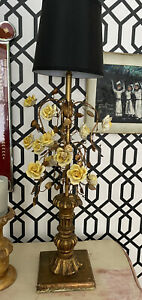 Lg Tole Vintage Gilt Florentine Table Lamp Leaves Yellow Porcelain Roses Wood