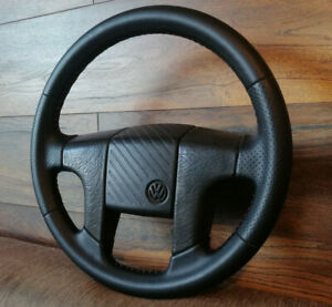 Vw Volkswagen Leather Steering Wheel Golf Mk2 Mk3 Corrado Passat Polo Vento