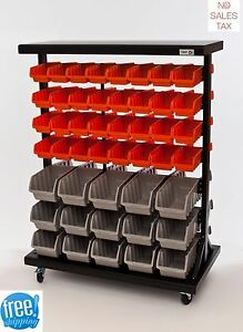 Plastic Bin Rack 7 Shelf Commercial Mobile Dual Sided Wheeled Storage Organizer