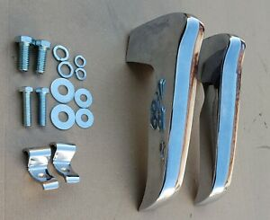 1967 72 Chevy Pickup Truck Front Bumper Guards Chrome Pair W Hardware Triplus