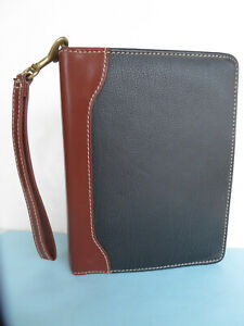 Compact Franklin Covey Black brown Leather 1 1 8 Rings Zip Planner binder Vgc