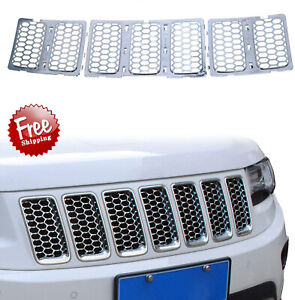 7pcs Front Grill Mesh Cover Inserts Kit For 2014 2016 Jeep Grand Cherokee Chrome