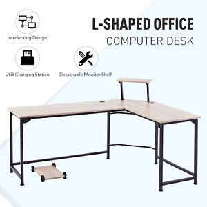 L Shaped Computer Desk With Monitor Stand And Usb Ports 72x19 53x19 Sides Oak