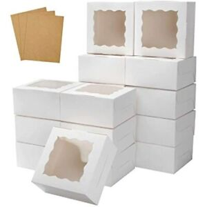 30 Pcs White Bakery Boxes Window 6 X Inches Paperboard Treat For Cookies amp