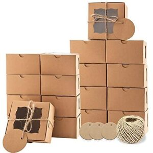 Lyfehack Cookie Dessert Boxes Window 4x4x2 5 In 24pcs Labels Twine For Cake