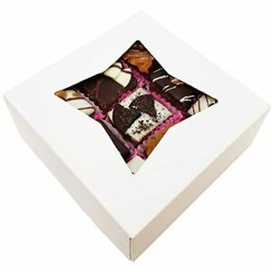 Bakeluv White Bakery Boxes Window 6x6x2 5 Inches 50 Pack Auto popup Thick amp