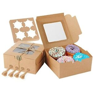 Cake Boxes 6x6x3 Inch 50 Pcs Brown Bakery Window Cupcakes For Pastries Pie