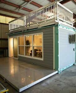 20ft Shipping Container Office With Glass Door Double Pane Windows And Ac