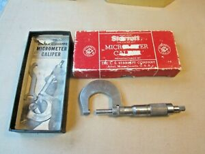 Antique Starrett Brown Sharpemicrometer Caliper 1 100 Mm 12 W Orig Box