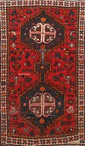 Vintage Traditional Geometric Area Rug Wool Hand Knotted Oriental Carpet 3x5 Red