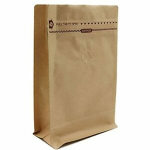 Paper Stand Up Coffee Bag flat Bottom Pouch Air Release Valve Reusable Side 50