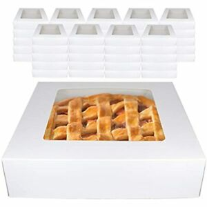 White Bakery Pie Boxes 45 Pk Professional Window Display Carrier For Baked Goods