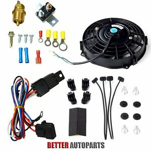 7 Inch Universal Electric Radiator Cooling Fan Thermostat Switch Kit Black