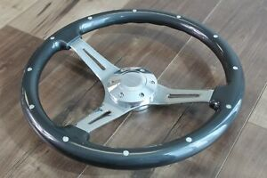 15 350mm Grey Chrome Wood Steering Wheel Real Rivets Factory Second