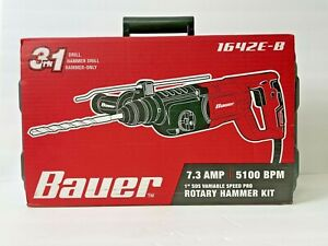 New Bauer 1 Inch Sds Variable Speed Pro Corded Rotary Hammer Kit Model 1642e b