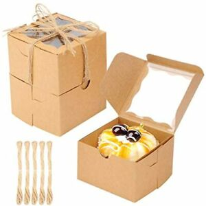 50pcs Bakery Boxes Window Paperboard Pastry Cookie 4x4x2 5 Inches brown amp