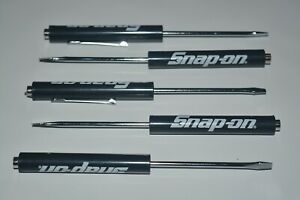 Snap On Tools Flat Tip Pocket Screwdriver With Clip Magnet Top 5 Piece Lot