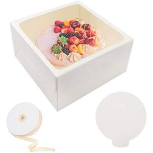 10 Pcs Cake Box Bakery Boxes Window Boards Cookie For Gift Giving 12x12x6 amp