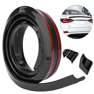 Black Car Rear Spoiler Wing Rubber Tail Trunk Roof Trim Sticker Universal 4 9ft