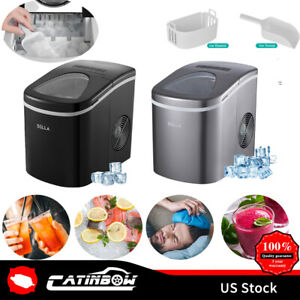 26 Lbs Countertop Ice Maker Stainless Steel Makes Black Titanium Gray Glass Cup