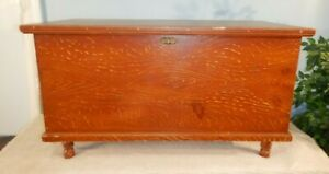Antique Original Grain Painted Country Primitive Dovetailed Blanket Chest Trunk