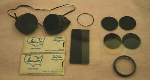 Original Vtg Welding Motor Cycle Goggles Steampunk W Extra Lens Material Usa