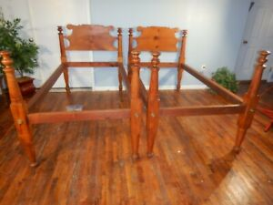 Pair Antique Twin Sized Maple Rope Beds Maple Pine Walnut