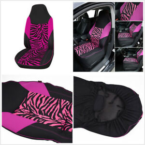 1pcs Rose Pink Zebra Print Car Front Bucket Seat Cover Protector Mat Car styling