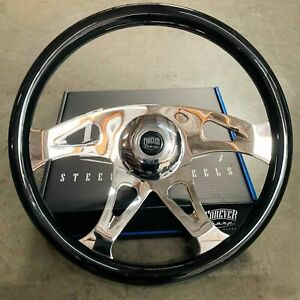 18 Steering Wheel Talon Wood Black Freightliner Kenworth Peterbilt Volvo