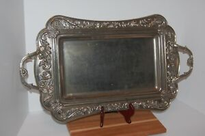 Vintage Silverplated Large Rectangular Serving Tray With Handles