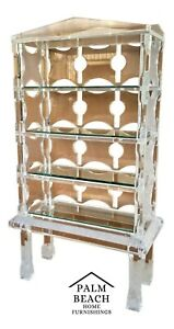 1970 S Exceptional Huge Mcm Neoclassical Lucite Display Etagere Bookcase Shelves