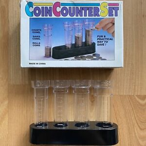 Vintage Coin Sorter Plastic Tubes Holder Change Counter Set Box 1994