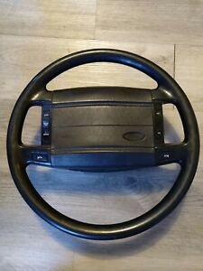 90 93 Ford Mustang Lx Gt Cobra Black Leather Wrapped Steering Wheel Oem Used