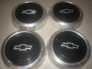 Set Of 4 10 5 Dog Dish Hubcaps Black Paint For Vintage Chevy Pickup Truck
