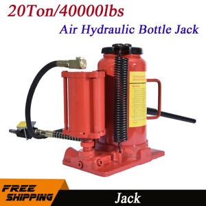 20 Ton 40 000lbs Pneumatic Air Hydraulic Bottle Jack Manual Heavy Duty Repair