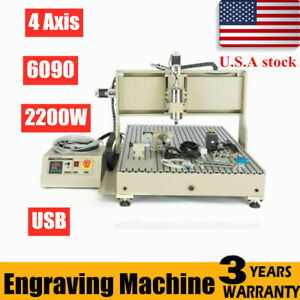 Usb Cnc 6090 Router 4 Axis Metal Woodworking Engraver 2 2kw Engraving Machine Us