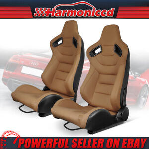 Reclinable Universal Racing Seat Pair Pu Carbon Leather Beige 2 Dual Sliders