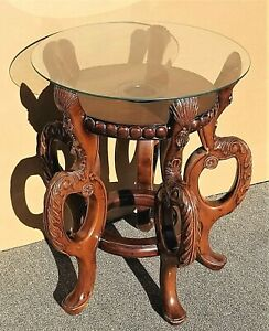 Vintage Asian Chinoiserie Solid Mahogany Hand Carved Side Accent Lamp Table