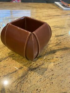 Office Supplies Desk Organizer Brown Leather Pencil Cup