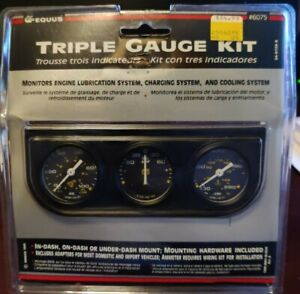 Equus 6075 Mini Triple Gauge Kit Mechanical 1 1 2 Black