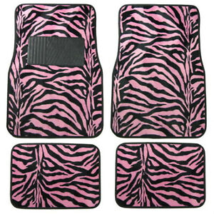 New 4pc Set Front And Rear Car Truck Pink Zebra Floor Mats Universal