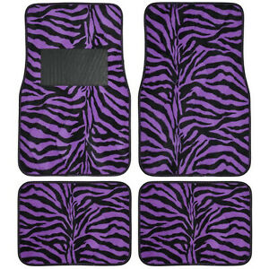 New 4pc Set Front And Rear Car Truck Purple Zebra Floor Mats Universal