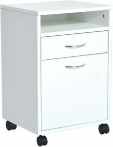 24 Rolling End Table Mobile Printer Cart Nightstand Organizer White New