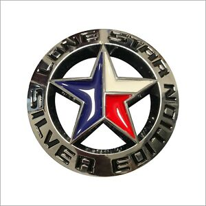 1pc Aluminum Alloy 3d Round Lone Star Texas Edition Emblem Auto Universal Decal