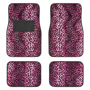 New 4pc Set Front And Rear Car Truck Pink Leopard Floor Mats Universal