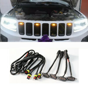 For Jeep Grand Cherokee 2003 2021 Front Grille Led Light Raptor Style Grill 4pcs
