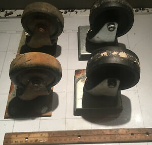 Lot Four 4 Heavy Duty Casters Caster Wheels 4 Inch Commercial Grade Swivel Type