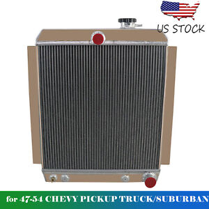 4 Row Aluminum Radiator Fit 1947 1954 Chevrolet Pickup Truck 3100 3600 3700 3800