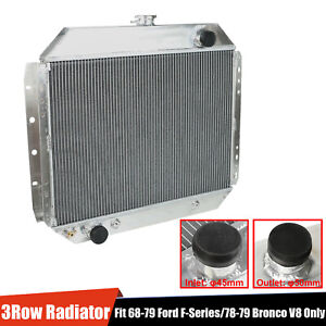 2 Row Aluminum Racing Radiator For 71 79 Ford F 100 F 150 F 250 F 350 Bronco