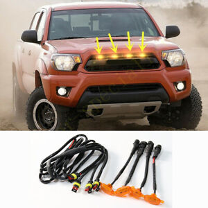 For Toyota Tacoma 2012 2015 Front Grille Led Light Raptor Style Grill Cover 4pcs